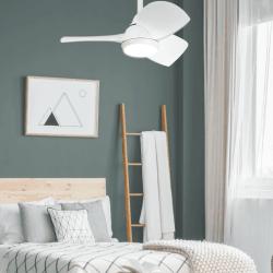 Ventilador de techo, Margaritta, DC, 71cm, blanco, con luz, para habitaciones pequeñas, + mando a distancia, Lba Home.