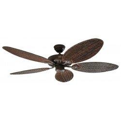 Ventilador de techo, Royal BA, clásico 132 cm, marrón antiguo,aspas de mimbre oscuro, CASAFAN