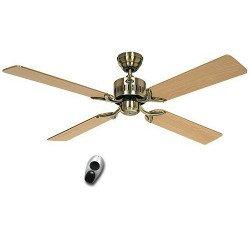 Ventilador de techo, TELESTO MA, 132 Cm, silencioso, aspas latón antiguo, aspas roble/haya, control remoto, CASAFAN