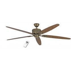 Ventilador de techo DC 180 cm, Eco Elements MA, latón antiguo, roble antiguo y aspas de nogal, control remoto
