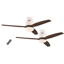Ventilador de techo, DC 132 cm. moderno, lacado n blanco, aspas de madera nogal, con luz y control remoto CASAFAN AERODYNAMIX