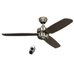 Ventilador de techo, Night Fligh BN-WN, moderno 132 cm, Cromo satinado, aspas WengeCASAFAN