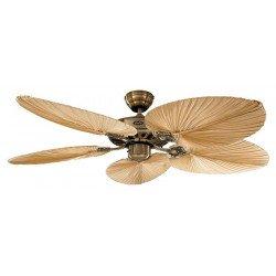 Ventilador de techo, Royal MA Palm, clásico 132 cm, latón antiguo,aspas de palma natural, CASAFAN