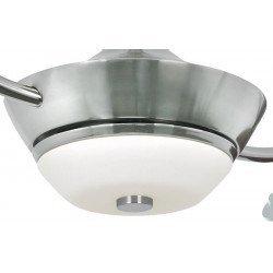 Ventilador de techo Efan 107 cm de acero satinado, doble aspas plateado, con lámpara, silencioso y original.