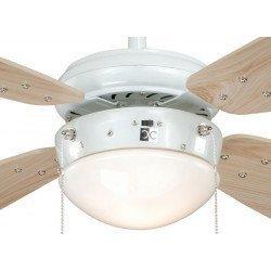 Ventilador de techo 105 cm. de acero pintado en blanco, clásico, con luz, aspas de pino,silenciosos, ideal para techo bajo