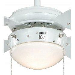 Ventilador de techo de acero lacado blanco de 105 cm, clásico, con lámpara, aspas blancas, silencioso. Ideal bajo techo.