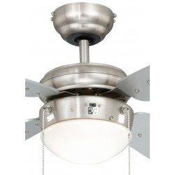 Ventilador de techo 105 cm. de acero niquelado, clásico, con luz, aspas plata,silencioso, ideal para techo bajo