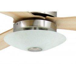 Ventilador de techo 132 cm aeronickel satinado, moderno, con luz, control remoto, aspas de arce, silencioso