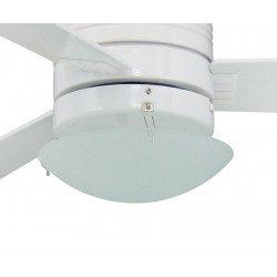 Ventilador de techo 107 cm. Photon lacado en blanco, moderno, con luzl, mando a distancia, aspas blanco/pino, silencioso