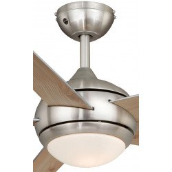 Ventilador de techo Fresco níquel cepillado, moderno, con luz y control remoto aspas pino/ gris, silencioso