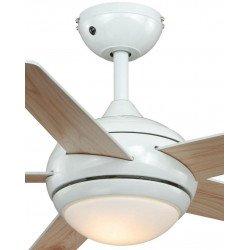 Ventilador de techo Fresco níquel cepillado, moderno, con luz y control remoto aspas pino/ blanco, silencioso