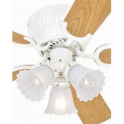 Ventilador de techo 105 cm, blanco con 3 luces aspas con dos caras impecables
