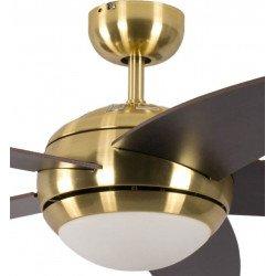 Ventilador de techo design silencioso 132 cm laton cepillado, aspas marron oscuro con luz Pepéo Melton.
