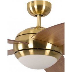 Ventilador de techo design silencioso 132 cm laton cepillado, aspas cerezero con luz Pepéo Melton.
