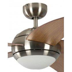 Ventilador de techo design silencioso 132 cm cromo cepillado, aspas cerezero con luz Pepéo Melton.