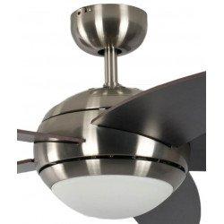 Ventilador de techo design silencioso 132 cm cromo cepillado, aspas marron oscuras y vengé con luz Pepéo Melton.