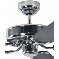 Ventilador de techo classico cromo pulido silencioso 132 cm, aspas negras Potkuri Pepéo.