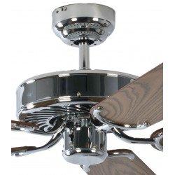 Ventilador de techo classico cromo pulido silencioso 132 cm, aspas de roble Potkuri Pepéo.