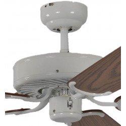 Ventilador de techo classico lacado blanco silencioso 132 cm, aspas de roble Potkuri Pepéo.
