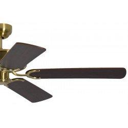 Ventilador de techo classico laton satinado silencioso 132 cm, aspas de mahagoni Potkuri Pepéo.