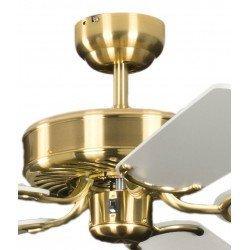 Ventilador de techo classico laton satinado silencioso 132 cm, aspas blancas Potkuri Pepéo.