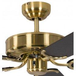 Ventilador de techo classico laton satinado silencioso 132 cm, aspas negras Potkuri Pepéo.