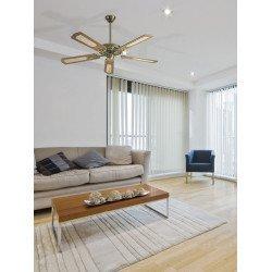 Ventilador de techo, classico laton satinado silencioso 132 cm, aspas de roble con o sin canisses Miami LBA HOME