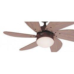 Ventilador de techo, 76 cm., con luz. motor de acero marrón, láminas de pino
