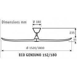 Ventilador de techo, ECO Genuino, 152 cm, aspas de madera natural, cuerpo de acero cromado/satinado, DC, silencioso, Casafan.