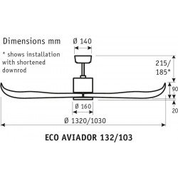 Ventilador de techo, Eco Aviador, 103 cm, moderno, aspas de nogal oscuro, sin luz, reversible, Casafan.