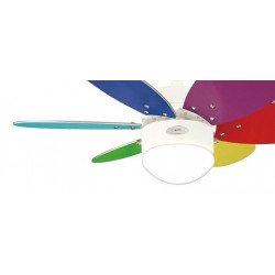 Ventilador de techo, 76 cm., con luz. motor acero blanco. palas multicolores