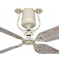 Ventilador de techo con motor lacado aspas blancas 132 cm simili Abedul motor DC, mando, Roadhouse SH-sh CASAFAN