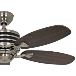 Ventilador de techo, Eco Gamma, 103 cm, moderno, acero cromado, aspas de color nogal y negro, hiper silencioso, Casafan