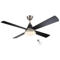 Ventilador de techo DC, moderno, lámpara, 132 cm. negro brillante y cromo cepillado. aspas negras, CASAFAN Eco CONO bn