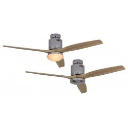 Ventilador de techo, DC 132 cm cromo pulido, aspas de madera natural CASAFAN AERODYNAMIX