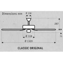 Ventilador de techo Hunter 132 cm Classic Original WE, motor blanco con aspas blancas.