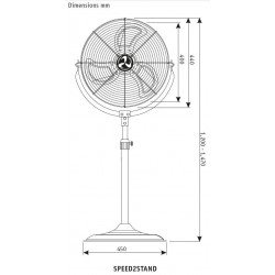 Ventilador de alto rendimiento, 40 cm, 110 vatios, altura 147 cm ultra potente.
