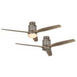 Ventilador de techo, DC 132 cm cromo cepillado, aspas de madera natural CASAFAN AERODYNAMIX