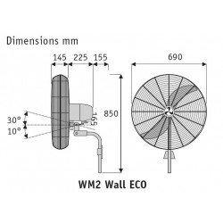 Ventilador de pared oscilante, alto rendimiento 70 cm, 123 Vatios, cromeado.