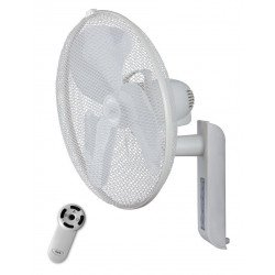 Ventilador de pared, Greyhound blanco diametro 45 cm con mando a distancia ajustable vertical y horizontal .