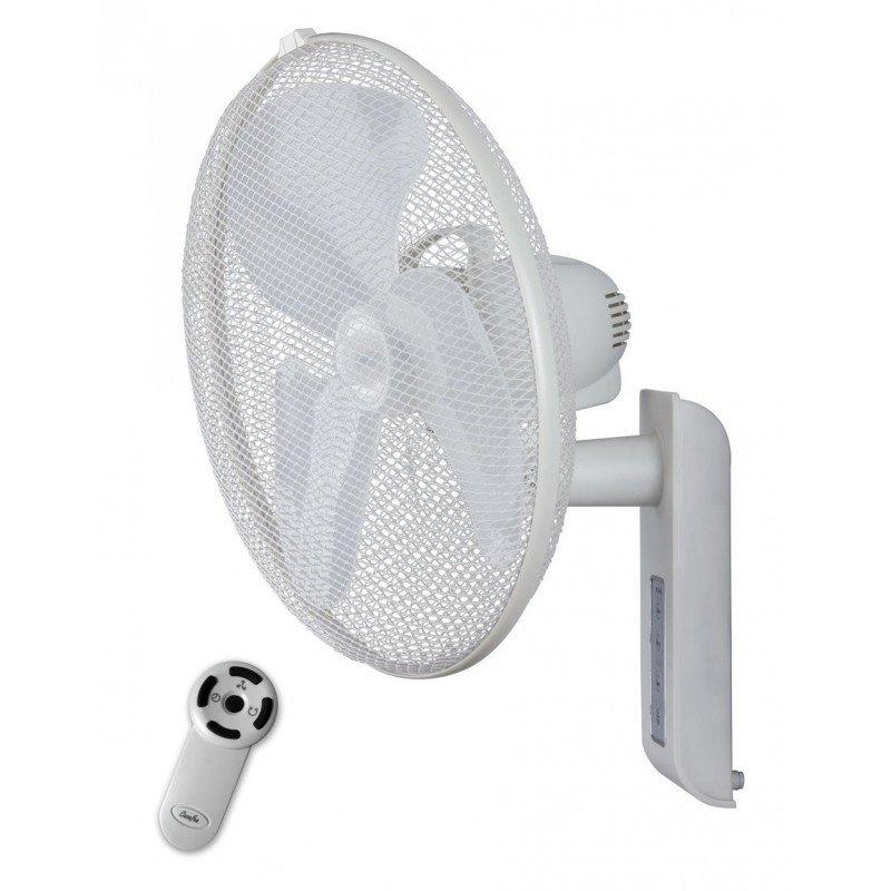 Ventilador de pared, Greyhound blanco diametro 45 cm con mando a distancia ajustable vertical y horizontal .