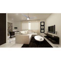 Ventilateur de plafond moderne 122 cm Chrome et bois avec lampe