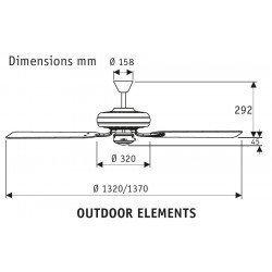 Ventilador de techo classico blanco para exteriores Ip44, silencioso, 132 cm Hunter Outdoor elements.