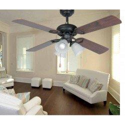Ventilador de techo, clásico, marrón, con luz, 107 cm FARO, Lisboa 33102