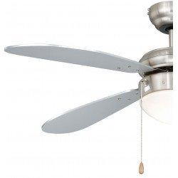 Ventilador de techo 106 cm acero chapado de níquel classico, con luz, aspas grises plateadas, ideal para los techos bajos.