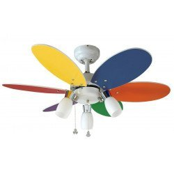 Ventilador de techo para habitaciones de niños, diámetro de 92 cm palas multicolores y 3 focos orientables