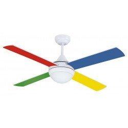 Ventilador de techo para niños 105 cm silencioso, aspas multicolores, luces y mando.