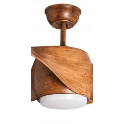 Ventilador de techo design 127cm con luces LED mando reversible color madera.