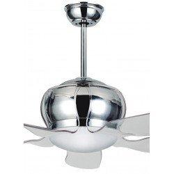 Ventilador de techo design 132 cm con luces led, mando y reversible cromo acrílico y cepillado