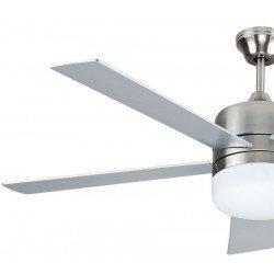 Ventilador de techo moderno 132 cm con luz, mando de serie, palas reversibles en gris y teca.
